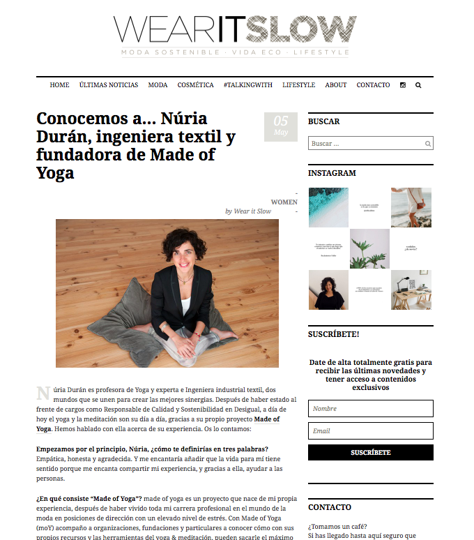 Wear it Slow entrevista a madeofyoga