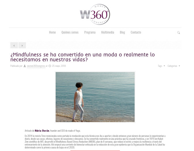 Post en el Blog Congreso Salud, Bienestar y Empresa para la mujer directiva y empresaria, W360º Congress - Blog Made of Yoga